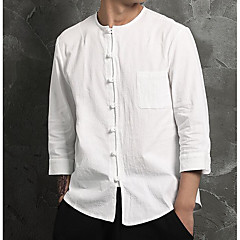 Koszula Męskie Casual / Wzornictwo chińskie Bawełna / Len Solidne kolory / Długi rękaw