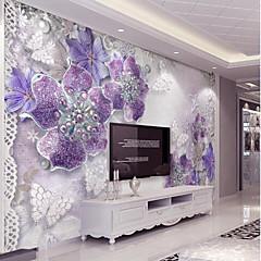 billige Tapet-lilla blikk sølv diamant blomst tilpasset 3d stor veggdeksel veggmaleri tapet passer kaffe rom soverom kjøkken kunst flowe