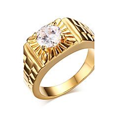 Men's Ring AAA Cubic Zirconia Vintage Classic Elegant Cubic Zirconia Titanium Steel Round Jewelry ForWedding Anniversary Party/Evening