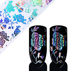 1 Roll Holo Rose Flower Starry Nail Foil 4*100cm Transfer Sticker Manicure for Nail Art Decoration