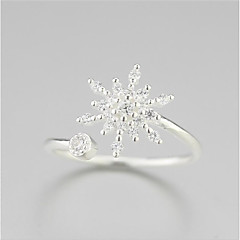 925 puhdasta hopeaa sulaminen lumi kukka tuore muoti avaaminen rengas