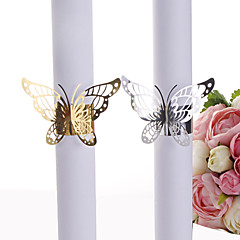 cheap Wedding Napkins-40pcs Party Favors Wedding Napkin Holder Laser Cut Golden And Sliver Butterfly Napkin Ring Paper Napkin Ring For Wedding Decoration Party Supplies