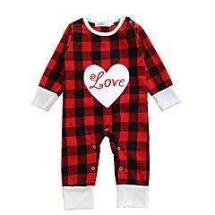 billige Babytøj-Baby Pige Ternet Plæd / Tern Langærmet Bomuld Overall og jumpsuit