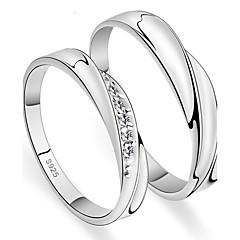 お買い得  指輪-カップル用 指輪 オニキス キュービックジルコニア シンプルなスタイル Elegant 銀 キュービックジルコニア 円形 ジュエリー 結婚式 記念日 パーティー 婚約 日常 式典