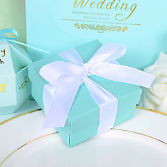 12 Piece/Set Favor Holder - Creative Card Paper Favor Boxes with Ribbon Beter Gifts® Tiffany Blue