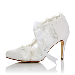 Women's Heels Comfort Summer Fall Lace Satin Wedding Dress Party & Evening Applique Stiletto Heel White 3in-3 3/4in