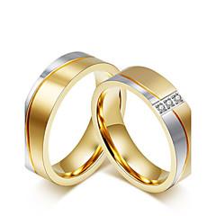 Χαμηλού Κόστους Δαχτυλίδια-Για Ζευγάρια Cubic Zirconia Δαχτυλίδια Ζευγαριού - Cubic Zirconia μινιμαλιστικό στυλ, Μοντέρνα, Κομψό 5 / 6 / 7 Χρυσό Για Γάμου / Επέτειος / Πάρτι / Βράδυ / Αρραβώνας