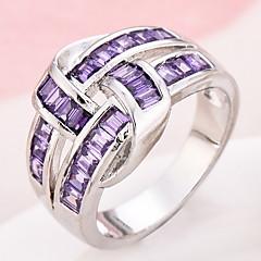 cheap Rings-Women's Ring Settings Ring Band Ring Cubic Zirconia , Synthetic Diamond Purple Copper Princess Irregular Personalized Luxury Geometric