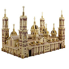 cheap -3D Puzzle Jigsaw Puzzle Wood Model Model Building Kit Church Plaza del Pilar Simulation DIY Wooden Wood Classic Kid's Adults' Unisex Gift