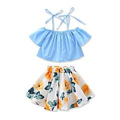 billige Tøjsæt til piger-Baby Pige Blomster / Pænt tøj Blomstret / Mode Trykt mønster Kortærmet Normal Normal Bomuld Tøjsæt Blå 100