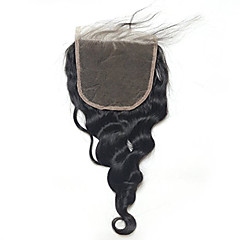 cheap Wigs & Hair Pieces-Loose Wave  5x5inch Lace Closure Human  Hair Top Lace Closure with Baby Hair