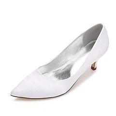 cheap Wedding Shoes-Women's Shoes Satin Spring Summer Comfort Basic Pump Wedding Shoes Kitten Heel Cone Heel Low Heel Stiletto Heel Pointed Toe for Wedding