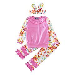 billige Sett med babyklær-Baby Pige Blomster Bomuld / Afslappet / Hverdag Trykt mønster / Sløjfeknude / Blomster / botanik Langærmet Normal Normal Bomuld Tøjsæt Lyserød 100