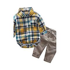 billige Tøjsæt til drenge-Spædbarn Drenge Ternet Ternet Langærmet Bomuld Tøjsæt Rød