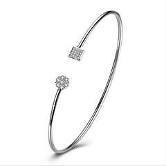 cheap Bracelets-Women's Sterling Silver Zircon Hypoallergenic Cuff Bracelet - Personalized Classic Vintage Geometric Silver Bracelet For Wedding New Baby