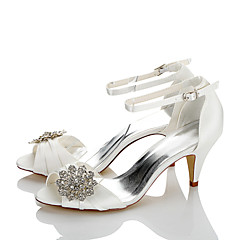 Women's Sandals Comfort Summer Fall Satin Wedding Dress Party & Evening Sparkling Glitter Cone Heel Ivory 2in-2 3/4in