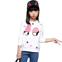 billige Hættetrøjer og sweatshirts til piger-Pige T-shirt Broderi, Bomuld Efterår Alle årstider 3/4-ærmer Blomster Hvid Navyblå