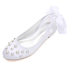 Women's Wedding Shoes Comfort Ballerina Spring Summer Satin Wedding Dress Party & Evening Bowknot Pearl Imitation Pearl Satin Flower Flat