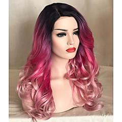 tanie Peruki syntetyczne-Syntetyczne koronkowe peruki Naturalna linia włosów Różowy Damskie Koronkowy przód Peruka naturalna Długo Włosy syntetyczne