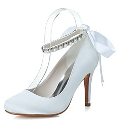 Women s Shoes Satin Spring   Summer Formal Shoes Wedding Shoes Stiletto Heel  Round Toe Pearl   Ribbon Tie White   Blue   Party   Evening b6a3aad06520
