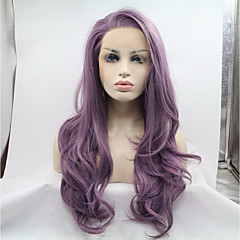 cheap Wigs & Hair Pieces-Synthetic Lace Front Wig Women's Natural Wave Purple Side Part Synthetic Hair Heat Resistant / Natural Hairline Purple Wig Long Lace Front Purple Sylvia