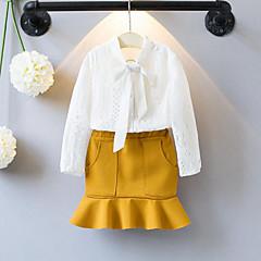 billige Tøjsæt til piger-Baby Pige Blonde / Folder Patchwork Langærmet Normal Rayon / Polyester Tøjsæt Hvid