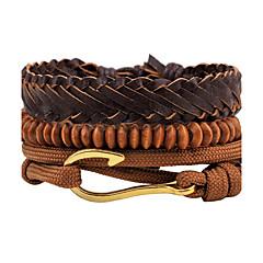 Herrn Strang-Armbänder Wickelarmbänder Lederarmbänder Punkstil Einstellbar individualisiert Handgemacht Zum Selbermachen Leder Holz