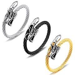 cheap Men's Jewelry-Men's Bangles AAA Cubic Zirconia Luxury Basic Fashion Adorable Cubic Zirconia Titanium Steel Rose Gold Plated Circle Geometric Star