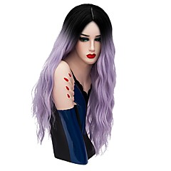 cheap Wigs & Hair Pieces-Synthetic Wig Women's Loose Wave Blue Synthetic Hair Ombre Hair Blue / Blonde / Pink Wig Long Capless Rose / Green Silver Purple Gold Pink / Brown / Gray
