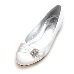 Women's Wedding Shoes Comfort Ballerina Spring Summer Satin Wedding Dress Party & Evening Rhinestone Satin Flower Sparkling Glitter