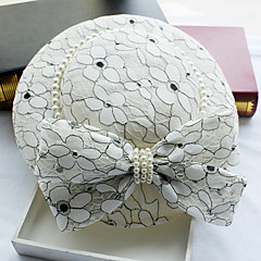 cheap Party Headpieces-Imitation Pearl Lace Fabric Silk Net leather Fascinators Hats Headpiece