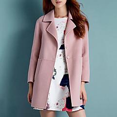 レディース プラスサイズ カジュアル/普段着 秋 冬 コート,シンプル シャツカラー ソリッド ロング ポリエステル 長袖