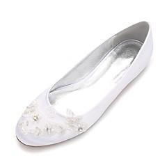 Women's Wedding Shoes Comfort Ballerina Spring Summer Satin Wedding Party & Evening Dress Rhinestone Applique Beading Satin Flower