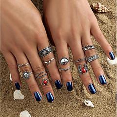 billige Motering-Dame Krystall Ring - Krystall, Legering Sol, Blomst damer, Bohemsk, Rock, Bohem En størrelse Sølv Til Avslappet Formell