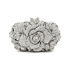 Mulheres Bolsas Metal Bolsa de Festa Detalhes em Cristal Prata / Rhinestone Crystal Evening Bags / Sacolas de casamento