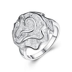 levne -Dámské Široké prsteny Šperky Základní design Módní Zirkon Postříbřené Flower Shape Rose Šperky Pro Párty