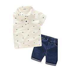 billige Tøjsæt til drenge-Børn Drenge Trykt mønster Kortærmet Bomuld Tøjsæt Hvid