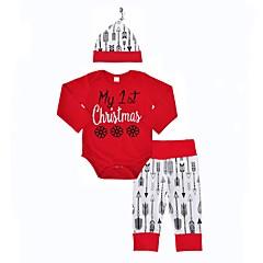 billige Sett med babyklær-Baby Pige Dyretryk Jul / Afslappet / Indendørs Trykt mønster / Mode Langærmet Normal Normal Bomuld Tøjsæt Rød 100