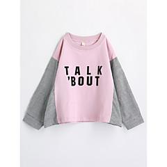 tanie Odzież dla dziewczynek-Brzdąc Dla dziewczynek Geometric Shape Długi rękaw Bawełna T-shirt Rumiany róż 100