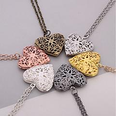 baratos -Mulheres Pingentes Jóias Medalhão Formato de Coração Prata Chapeada Coração Confeccionada à Mão Jóias Para Dia a Dia Casual