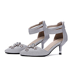 cheap Wedding Shoes-Women's Shoes Nubuck leather Summer / Fall Novelty / Comfort Heels Stiletto Heel Pointed Toe Crystal / Zipper for Wedding / Party &