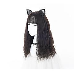 billige Kostymeparykk-Syntetiske parykker / Kostymeparykker Kinky Curly Lagvis frisyre Syntetisk hår Afroamerikansk parykk Svart Parykk Dame Lang Festparykk /