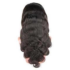 billiga Peruker och hårförlängning-Äkta hår Spetsfront Peruk Brasilianskt hår Kroppsvågor 130% Densitet Afro-amerikansk peruk / 100 % handbundet Mellan Dam Äkta peruker med