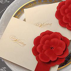 baratos -Dobrado no Topo Convites de casamento-Cartões de convite Estilo Clássico Papel com Relevo