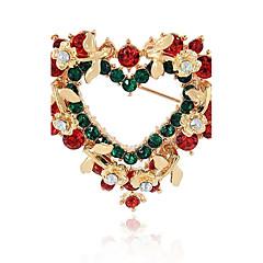 男性用 女性用 ブローチ 合成ダイヤモンド ファッション クリスマス 合金 ハート ジュエリー 用途 クリスマス