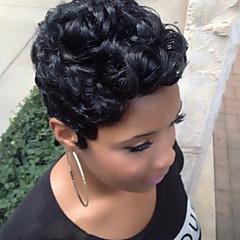 billige Lågløs-Human Hair Capless Parykker Menneskehår Krøllet / Afro Afro-amerikansk paryk / Til sorte kvinder Kort Maskinproduceret Paryk Dame