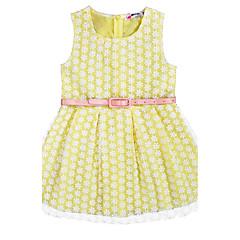 baratos Roupas de Meninas-Menina de Vestido Aniversário Diário Feriado Jacquard Verão Algodão Sem Manga De Renda Rosa Amarelo