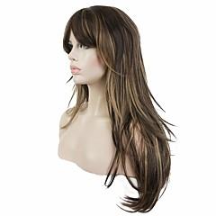 billige Parykker & hair extensions-Syntetiske parykker Lige Frisure i lag Syntetisk hår Highlighted / balayage-hår Brun Paryk Dame Lang Naturlig paryk Lågløs