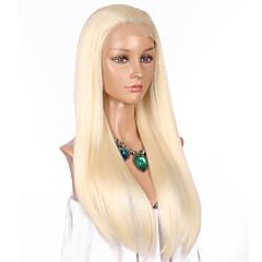 tanie Peruki syntetyczne-Syntetyczne koronkowe peruki Prosta Blond Włosie synetyczne Naturalna linia włosów Blond Peruka Damskie Długie Siateczka z przodu Jasny blond