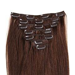 お買い得  人毛エクステンション-Clip In 人間の髪の拡張機能 ストレート 7PCS /パック 16 インチ 18 インチ 20 インチ 22 インチ 24 インチ